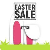 Glücklicher Ostern-Plakatquadrat-Rahmenverkauf mit Gras und den Ohren des Kaninchens Stockbild