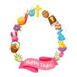 Glücklicher Ostern-Rahmen mit dekorativen Gegenständen, Eiern und Häschen Stockfotografie