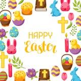 Glücklicher Ostern-Rahmen mit dekorativen Gegenständen, Eiern und Häschen Stockfotos