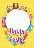 Glücklicher Ostern-Rahmen mit dekorativen Gegenständen, Eiern und Häschenaufklebern Stockbild