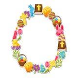 Glücklicher Ostern-Rahmen mit dekorativen Gegenständen, Eiern und Häschenaufklebern Lizenzfreies Stockfoto