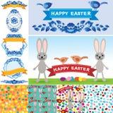 Glücklicher Ostern-Satz Kaninchen, Eier, Blumen, Bänder, nahtloses Muster Retro- Weinleseart des Sammlungselements Vektor Lizenzfreies Stockbild