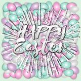 Glücklicher Ostern-Text auf den Hintergrund Ostereiern Vektor Abbildung