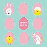 Glücklicher Ostern-Text Gemalte Eirahmen gesetzte Häschenhasen, die Karotte halten Hühnervogel mit Oberteil Strichliniekontur Gru Lizenzfreie Stockfotografie