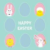 Glücklicher Ostern-Text Zacken Sie die gemalten Eirahmen gesetzten Häschenhasen aus, die Karotte halten Hühnervogel mit Oberteil  Stockfotografie