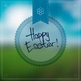 Glücklicher Ostern-Vektor-Hintergrund mit einem runden Aufkleber Stockfotos