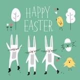 Glücklicher Ostern-Vektorsatz Häschen, Kaninchen, Küken, Baum, Blume, Herz, Phrase beschriftend Frühlingswaldelemente für Design Stockfotografie