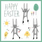 Glücklicher Ostern-Vektorsatz Häschen, Kaninchen, Küken, Baum, Blume, Sonne, Herz, Phrase beschriftend Frühlingswaldelemente für  Stockfotos