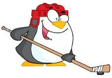 Glücklicher Pinguin, der Eishockey spielt Stockfotos