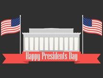 Glücklicher Präsidententag Fahne mit amerikanischer Flagge und Symbolen Vektor Lizenzfreies Stockbild