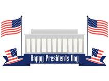 Glücklicher Präsidententag Fahne mit amerikanischer Flagge und Symbolen Vektor Stockbilder