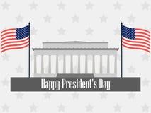 Glücklicher Präsidententag Plakat mit amerikanischer Flagge und Symbolen Vektor Lizenzfreies Stockfoto