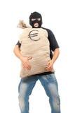 Glücklicher Räuber mit dem Sack voll vom Euro Lizenzfreies Stockbild
