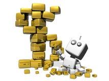 Glücklicher Roboter und goldene Würfel. Lizenzfreies Stockbild