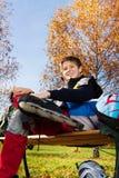 Glücklicher Rollenblattschlittschuhläufer Lizenzfreies Stockbild