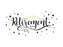 Glücklicher Ruhestand beschriftung Hand gezeichnetes Design Lizenzfreies Stockfoto