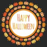 Glücklicher runder Rahmen Halloweens mit bunten Kürbisen Lizenzfreie Stockfotos