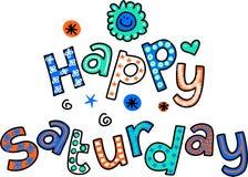 Glücklicher Samstag-Karikatur-Text Clipart Stockbilder