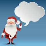 Glücklicher Santa Claus-Charakter mit einer Spracheblase für Designfahnen, -postkarten, -flieger und -mehr Illustrations-frohe We stock abbildung