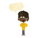 glücklicher schäbiger Junge der Karikatur mit Spracheblase Stockfotos