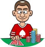Glücklicher Schürhaken-Spieler Stockfoto