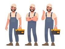 Glücklicher Schlosser oder Mechaniker mit einem Werkzeugkasten Satz verschiedener Position stock abbildung