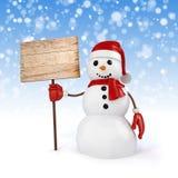 glücklicher Schneemann 3d, der ein Zeichen des hölzernen Brettes hält Stockbild