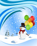 Glücklicher Schneemann, der bunte Ballone anhält Lizenzfreie Stockbilder