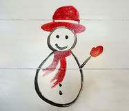 Glücklicher Schneemann des Winters Stockfoto