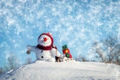 Glücklicher Schneemann mit Hut lizenzfreie stockbilder