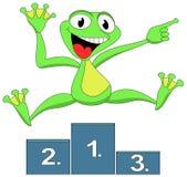Glücklicher Sieger des Frosches Lizenzfreie Stockfotos