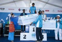 Glücklicher Sieger des Kiloliter-Marathons Stockfotografie