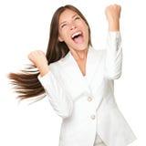 Glücklicher Sieger - ErfolgsGeschäftsfrau Stockbilder