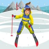 Glücklicher Skilehrer der Karikatur, der weg Hügel kommt stock abbildung