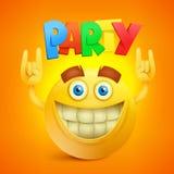Glücklicher Smiley Emoticon Yellow Face Partei-Konzeptikone Lizenzfreie Stockbilder