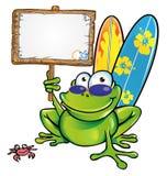 Glücklicher Sommerfrosch mit Schild Stockbild