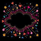 Glücklicher Spaßstern sprengt Karikaturwolkenformfahnen-Rahmenhintergrund Stockbild