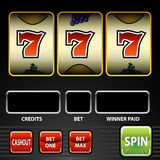 Glücklicher Spielautomat sieben Lizenzfreie Stockfotografie