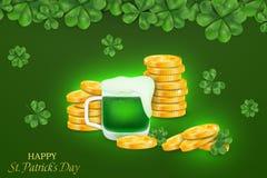 Glücklicher St- Patrick` s Tag St.-patricks Tagesdesign mit vier leaved Klee, Stapel Goldmünzen auf grauem Hintergrund stock abbildung