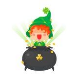 Glücklicher St- Patrick` s Tageskobold mit Goldschatz Stockbild