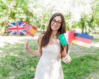 Glücklicher Student Learning Languages stockbilder