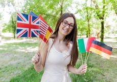 Glücklicher Student Learning Languages stockfotografie