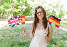 Glücklicher Student Learning Languages stockfotografie