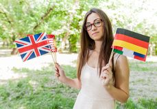 Glücklicher Student Learning Languages stockbild