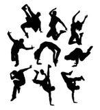 Glücklicher Tänzer Break Dance Silhouettes vektor abbildung