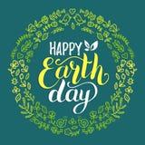 Glücklicher Tag der Erde-Handbeschriftungshintergrund Vector Illustration mit Blumenrahmen für Grußkarte, Plakat usw. Stockfotos