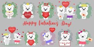 Glücklicher Tag des Valentinsgruß-s Mega- Satz von zwölf Charakteren eines netten Eisbären in den verschiedenen Haltungen und der stock abbildung