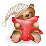 Glücklicher Teddy Bear, der ein Kissen 5 umarmt Stockbild