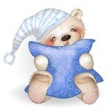 Glücklicher Teddy Bear, der ein Kissen 4 umarmt Stockbilder
