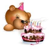 Glücklicher Teddybär mit Kuchen 2 Stockfoto